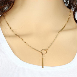 Chain Necklace Jewelry Women Brief Fashion Gold Silver Plated Alloy Circle Metal Strap Chokers Clavicle Chain Necklaces Wholesale SN574