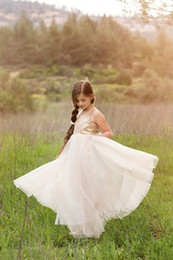 Wholesale 2015 Pageant dresses Gold Sequined Ivory Tulle Flower Girls Dresses Hand Made Flower Communion Dress Girl Pageant Gowns Sleeveless Backless