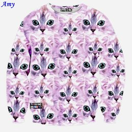Wholesale Amy new fashion women men D hoodies print pink cute cats funny sweatshirt long sleeve casual hoodys WY41