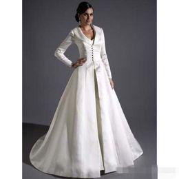 Wholesale Bridal Satin Full Length Coats Gracie Bleu Long Sleeves A line Eternity Bride Winter Wedding Par cheap price Dress accessories