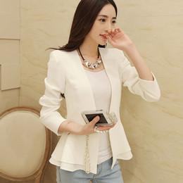 Wholesale 2016 S M L XL Fashion Women Girls Collarless Short Blazer Outwear Casual OL Peplum Ruffle Spring Autumn Aqua White