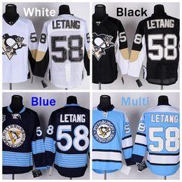 Cheap #58 Kris Letang Jersey Pittsburgh Penguins Hockey Jerseys Black White Blue Navy Winter Classic Kris Letang Stitched Jersey
