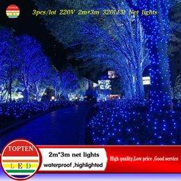 Rgb led net à vendre-Gros-3pcs / lot 2 * 3 m 320 LED 8 modes de flash 220V lumière de chaîne nette lumière de Noël lumineux New cérémonie lumière année de mariage Livraison gratuite