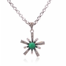 Wholesale Green Stone Silver best friend necklace diffuser necklaces pendants Marcasite Oxidized Thailand Jewelry as gift No90 PET549 B