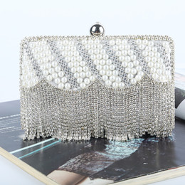 Factory Retaill Wholesale brand new handmade fantastic beaded glitter clutch evening bag with satin pu for wedding banquet party porm