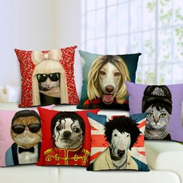 Wholesale new Ikea Dogs Cats Cosplay Audrey Hepburn Lady Gaga PSY Cushions Pillows Covers Dog Cat Pillow Case Decorative Linen Cotton Cushion Cover G