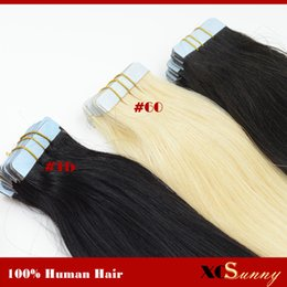 XCSUNNY Straight Tape Hair Extensions Remy Human Hair Extension 100g pack