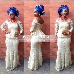 Wholesale bellanaija weddings Dresses aso ebi styles Long Sleeve aso ebi styles nigerian Lace bella naija traditional wedding aso ebi dresses Clothing