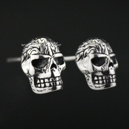 925 Sterling Silver Fire Skull Mens Biker Rocker Earring 8M008