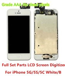 Wholesale For iphone5 Grade AAA No Dead Pixels LCD Touch Screen Digitzer Facing Camera Earpiece Home Button Replacement Parts For iPhone S C