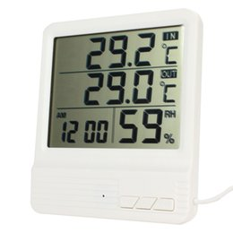 Wholesale High accuracy LCD Digital Electronic Temperature Humidity Meter Thermometer Tester Clock Household for Indoor Outdoor INS_304