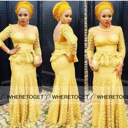 Nigerian Styles Yellow Sheer Neck Evening Dresses 2019 New 3 4 Long Sleeve Sexy Back Peplum Vintage Lace Applique Floor Length Party Gowns