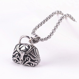 china tibet openable 316L Stainless Steel Cremation Necklace Vintage handbag Jewerly Ashes Urn Handbag Bag Pendant Necklace Keepsake Jewelry