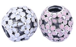 Sterling Silver Charms 925 Ale Enameled Pink Flower Charms for Pandora Bracelets DIY Beads Accessories Free Shipping
