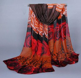 Wholesale 8 Colours Mixed Gorgeous Women Scarf Chiffon Printed Rose Flower Scarves Best Accessories For Appearl FZS09