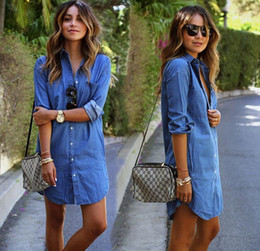 Denim Shirts Fashion Womens Denim T-shirt Dress Casual Loose Long Sleeved Women Cowboy Blouses Plus Size S-6XL