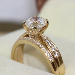 FG D VVS1 Real 14k Yellow Gold 1CT Round Brilliant Cut NSCD Sona Brand Simulated Diamond Wedding Ring Set For Women