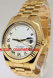 Luxury Watch High Quality Men Watch II 18k Yellow Gold Mens Watch White Roman Dial 218238 Automatic Movement Men's Wristwatches