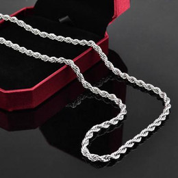 "Wholesale-FSN067 Men's 925 Sterling Silver Necklace Twisted Rope Chain 4mm 16-24"" Wholesale 925 Silver Jewelry"