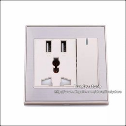 Wholesale 20PCS Home Wall Power Supply Port USB AC Adapter US Wall Socket Charger With LED Switch white Gold color