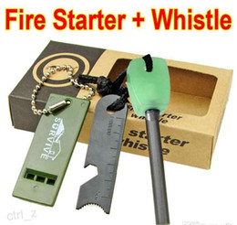 Wholesale DHL FREE Outdoor Camping Hiking Travel Firestone Kits Luminous Handle Survival Magnesium Flint Stone Fire Starter Lighter Whistle Rod