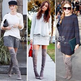 Wholesale-Free Shipping 2015 Gray Suede High Heels Boots Chunky Knee High Boots Women Winter Boots Thigh High Boots Sale