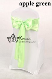 Wholesale Apple Green Satin Chair Sash For Wedding Chair Cover By Air Express