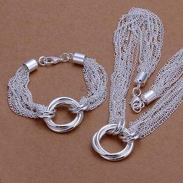 High grade 925 sterling silver Tassel necklace Bracelet Set jewelry sets DFMSS338 brand new Factory direct sale 925 silver necklace bracelet
