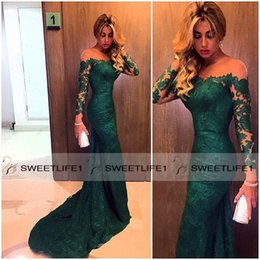 2019 Sexy Mermaid Long Court Train Evening Dresses Off Shoulder Lace Appliques Arabic Designer Dark Green Formal Party Prom Gowns