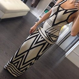 Wholesale Dresses For Women s Summer New Style Women Prints sleeveless dress Geometric Tank sleevesless maxi dress