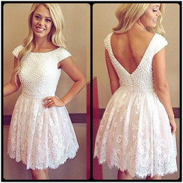 2016 Elegant Scoop Pearls Open Back Short White Homecoming Dresses Charming Lace Prom Dresses Plus Size Custom Made