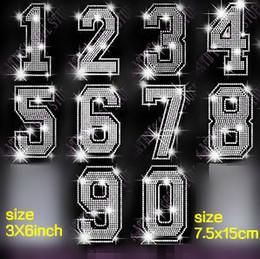 Wholesale NUMBERS sets Arabic numerals hotfix rhinestones motif heat transfer iron on patch garment accessory