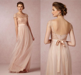 Light Coral Bridesmaid Dresses Long Floor Length Lace and Tulle Wedding Guest Dress Open Back Wedding Prom Party Dresses With Ribbon Sash