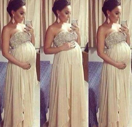 Hot Selling Maternity Evening Dresses Sweetheart Crystals Beaded Lace Empire Pregnant Party Gowns 2019 Lace up Back Custom Made E225