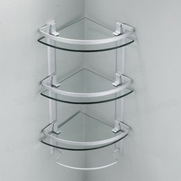 Wholesale Aluminum tier glass shelf shower holder bathroom accessories corner shelves for storage wall mount