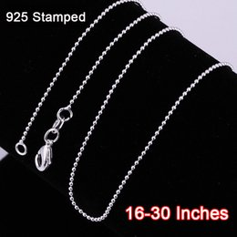 Wholesale-Discount 16-30 Inches New 20PCS Ball Beads Prayer Necklace Chains Pure 925 Sterling Silver Findings DIY Jewelry