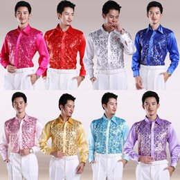 Wholesale-Colored Tuxedo Shirts Ceremonies Presided Mens Stage Shirts Fashion Stage Shirts Men Performance Shirts 8 Colors Free Shipping