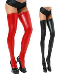 Fashion Sexy Women's Charming Faux Leather Black WetLook Vinyl Fetish Stockings Free Shipping