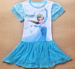Wholesale Best Price Summer Frozen Kids Baby Dress Long sleeve Elsa Princess sequins Tutu Skirt Cartoon Movie Printing Clothes ESY40