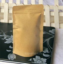 100pcs lot- 11*18.5+3cm Kraft paper stand up pouch bag coffee tea powder food packaging bag with zipper top