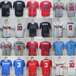 Wholesale 30 Teams Cheap Atlanta Braves Throwback Chipper Jones Jersey Dale Murphy Freddie Freeman Baseball Jerseys Stitched For Men Size m xl