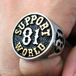 Wholesale 1 Men Vintage Support World Silver Gold L Stainless Steel Biker Ring for Hell Angels Outlaw MC