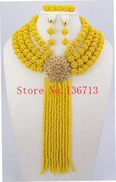 Fine African Beads Jewelry Sets Necklace Bracelet Earrings Rings Crystal Party Wedding Gold Plated Bridal Collar Accessories BS401-6