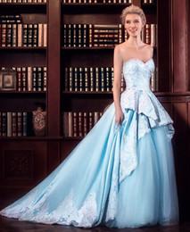 Wholesale China Blue Wedding Dress - Light Blue Wedding Dress Satin Elegant China Custom Made Ball Gown Wedding Dresses Bridal Bridal Dress robe de mariage