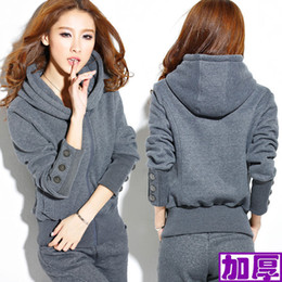New Womens Winter Warm Hoodie Coat Tracksuit Sport Yoga Running Sweat Suit S-3XL