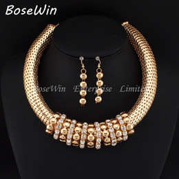 New Women Short Design Accessories Chunky Chain Bib Rhinestones Circle Statement Necklaces Earrings Charm Jewelry Sets CE2773