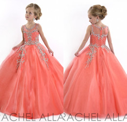 Wholesale Chaud Coral Girls Robe Dresses Princesse Puffy Ball Gown Tulle Jewel Crystal Beading Enfants Fleur Robes Filles Robes d anniversaire DL751