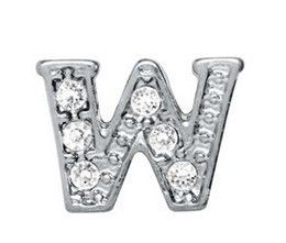 "NEW 20pcs lot rhinestone Silver Alphabet Letter "" W "" For Glass Living Floating Charm Locket Jewelry Pendant"