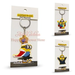 Wholesale New arrival Despicable Me doll D Key Chain Cartoon Minions Keychains Key Ring Chaveiro best gift mix multiple styles