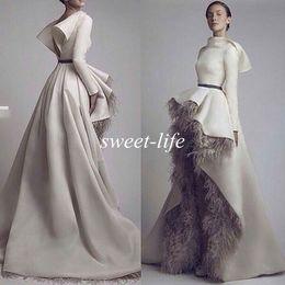 Wholesale Krikor Jabotian Long Sleeves Wedding Bridal Evening Dresses Short Font Long Back Grey Feather Satin Open Back Formal Dresses Prom Gowns